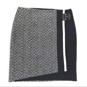 WHBM Pencil Skirt Tweed Faux Wrap Asymmetrical